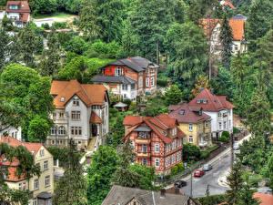 Обои Германия Дома Дороги Деревья Улица Blankenburg Города