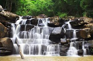 Обои Водопады Камень Природа