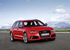 Фотографии Audi Красные Металлик Универсал 2015 RS 6 Avant performance машина