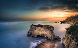 Картинка Море Берег Пейзаж Малибу Скале Горизонт El Matador Beach Long Exposure Природа