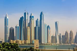 Обои Дубай Объединённые Арабские Эмираты Небоскребы Marina sky skyscrapers skyline buildings Города