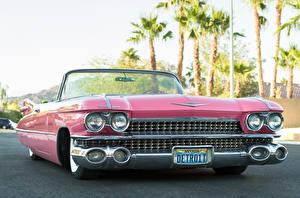 Картинки Ретро Cadillac Кабриолета Спереди Розовая 1959 Convertible Автомобили