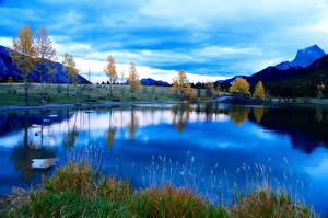 Обои Озеро Горы Осень Fall Blues Природа