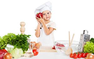Картинки Овощи Помидоры Девочка Повары Униформе ребёнок