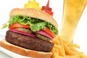 Фотография Фастфуд Гамбургер Булочки Мясные продукты Овощи Картофель фри Пища