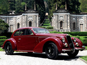 Фотографии Alfa Romeo Ретро Темно красный Металлик 1938 6C 2300B Mille Miglia   дизайн Touring Автомобили