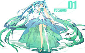 Фотографии Vocaloid Hatsune Miku Волосы Микрофон Девушки