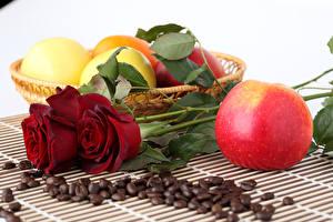 Картинки Розы Яблоки Кофе Зерна Цветы Еда