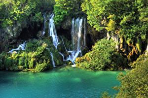 Обои Таиланд Парки Водопады Мох Erawan waterfall Природа фото