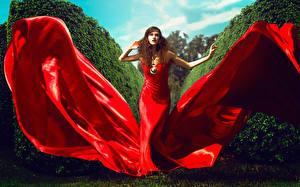 Картинка Платье Красная Шатенки Девушки