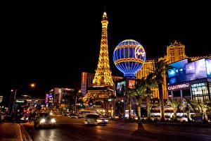 Фотографии Штаты Дома Дороги Лас-Вегас Улица Ночные Уличные фонари