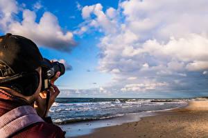 Фото Море Побережье Россия Фотоаппарат Пляж 1ZOOM Горизонт Облака Кепка Фотограф Baltic Sea Zelenogradsk Природа