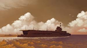 Фото Корабль Рисованные HMS Courageous Армия