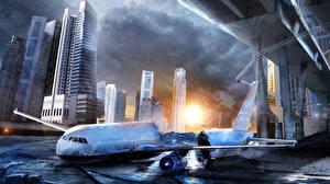 Картинка Катастрофы Пассажирские Самолеты Фантастический мир Фантастика