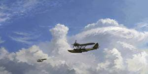 Обои Самолеты Рисованные Облака Sh-2 Авиация фото