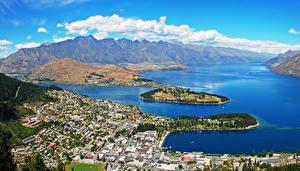 Картинки Новая Зеландия Здания Реки Гора Сверху Облачно Nelson город