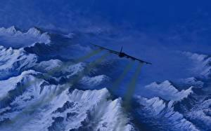 Обои Самолеты Рисованные Горы USAF B-52  Greenland Авиация фото