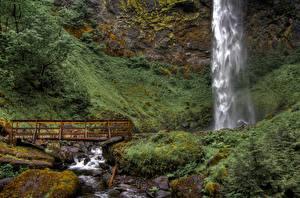 Фотография Водопады Камни Мосты Ручей Elowah Falls, Columbia River Gorge, Oregon Природа