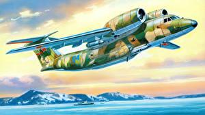 Обои Рисованные Самолеты Транспортный самолёт Antonov An-72P