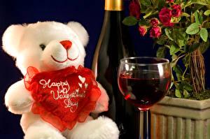 Фотография День всех влюблённых Плюшевый мишка Вино Игрушки Сердце Бокалы Продукты питания