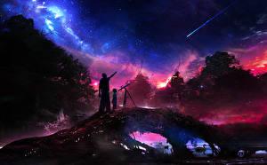 Обои Небо Двое Ночь Космос Фэнтези фото