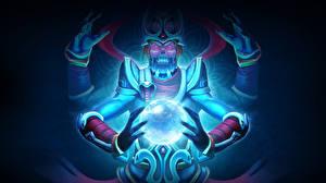 Картинка DOTA 2 Волшебство Чудовище Lich Скелет Игры Фэнтези