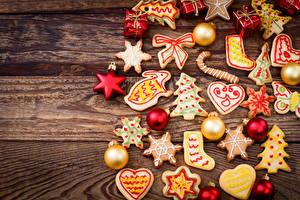 Обои Новый год Праздники Печенье Шар Доски