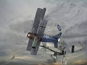 Обои Самолеты Рисованные August 10, 1918, Two RAF DH-4 bombers Авиация фото