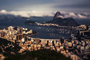 Картинки Бразилия Горы Дома Рио-де-Жанейро
