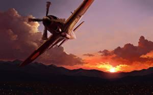 Картинка Самолеты Истребители Рисованные Рассветы и закаты Облака Mitsubishi J2M Raiden Авиация