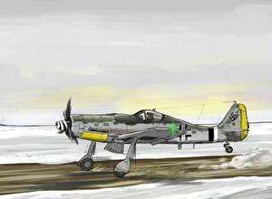 Обои Самолеты Рисованные Истребители FW190D-9 Taking off Авиация фото