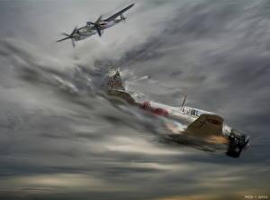 Обои Самолеты Рисованные Air war over the pacific Авиация фото