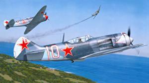 Обои Самолеты Рисованные Истребители Lavochkin La-7 Авиация фото