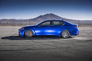 Обои Лексус Голубой Металлик Сбоку Асфальт 2016 Lexus GS F Автомобили