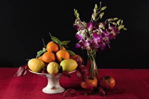 Фото Натюрморт Фрукты Лимоны Апельсин Хурма Вазы Пища Цветы