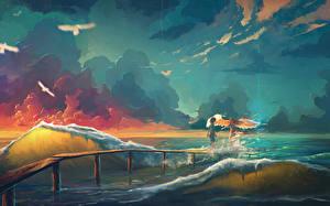 Картинка Ангел Море Волны Облачно Две Фэнтези