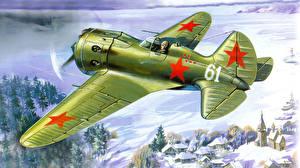 Обои Самолеты Рисованные Истребители Polikarpov I-16 Авиация фото