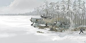 Обои Самолеты Рисованные Frost taking off Авиация фото