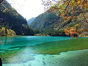 Обои Китай Парки Горы Озеро Леса Цзючжайгоу парк Природа фото