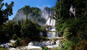 Фотографии Таиланд Водопады Деревья Huay Mae Khamin Waterfall Природа