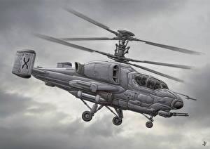 Обои Вертолеты Рисованные Kamov Авиация фото