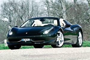 Фотографии Ferrari Кабриолет Спереди Черный 458 italia Авто