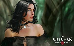 Картинки Ведьмак Ведьмак 0: Дикая Охота Yennefer of Vengerberg Игры Фэнтези Девушки