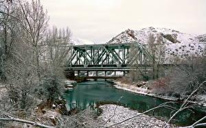 Фотографии Реки Мост США Зима Morgan UT Utah Природа