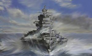 Картинка Корабль Рисованные The USS Idaho (BB-42) Армия