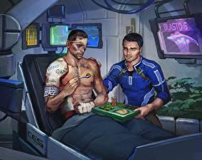 Картинки Mass Effect Мужчины Двое Kaidan and Shepard Фэнтези
