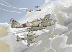 Обои Самолеты Истребители Рисованные Me-262 Авиация фото