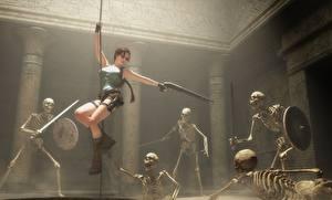 Обои Tomb Raider Ружьё Лара Крофт Мечи Щит Скелет Shotgun fan art Игры Фэнтези Девушки 3D_Графика фото