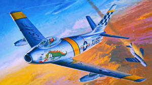 Обои Самолеты Истребители Рисованные Academy 12234 U.S. Air Force F-86F Авиация фото
