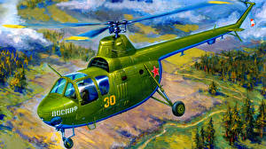 Обои Рисованные Вертолеты Ми-1М (КБ Миля) Авиация фото